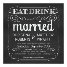 Chalkboard Eat Drink be Married Invitations at Zazzle