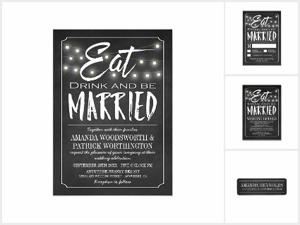 Chalkboard Eat, Drink and Be Married Invitations Set