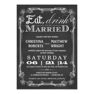 "Chalkboard Eat Drink Be Married Wedding Invitation 5"" X 7"" Invitation Card"