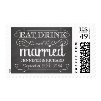 Chalkboard Eat Drink be Married Wedding Postage