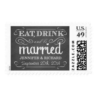 Chalkboard Eat Drink be Married Wedding Postage