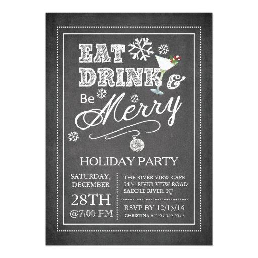 Chalkboard Eat Drink Be Merry Holiday Invitation Custom Invitations