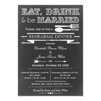 Chalkboard Eat drink rehearsal dinner invites