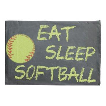 Coffee Themed Chalkboard Eat Sleep Softball Pillowcase