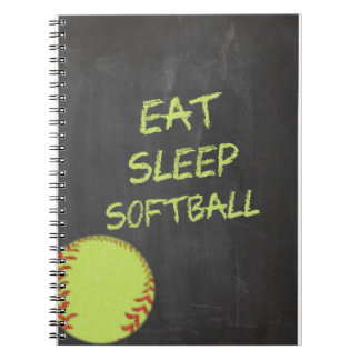 Chalkboard Eat Sleep Softball Spiral Notebook