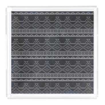 Aztec Themed Chalkboard Effect Aztec Tribal Stripes Acrylic Tray
