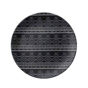 Aztec Themed Chalkboard Effect Aztec Tribal Stripes Dinner Plate