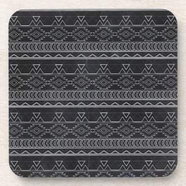 Aztec Themed Chalkboard Effect Aztec Tribal Stripes Drink Coaster