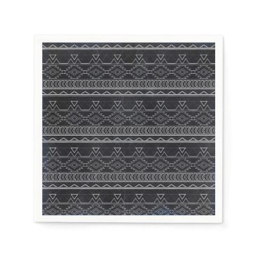 Aztec Themed Chalkboard Effect Aztec Tribal Stripes Paper Napkin