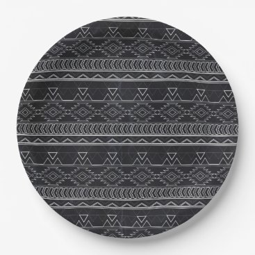 Aztec Themed Chalkboard Effect Aztec Tribal Stripes Paper Plate