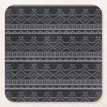 Aztec Themed Chalkboard Effect Aztec Tribal Stripes Square Paper Coaster