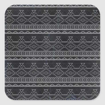 Aztec Themed Chalkboard Effect Aztec Tribal Stripes Square Sticker