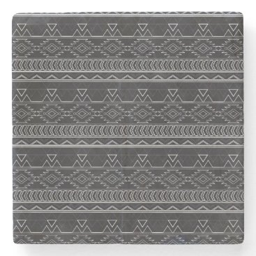 Aztec Themed Chalkboard Effect Aztec Tribal Stripes Stone Coaster