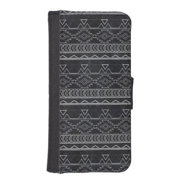 Aztec Themed Chalkboard Effect Aztec Tribal Stripes Wallet Phone Case For iPhone SE/5/5s