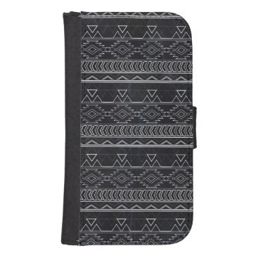 Aztec Themed Chalkboard Effect Aztec Tribal Stripes Wallet Phone Case For Samsung Galaxy S4