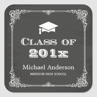 Chalkboard Elegant Frame Class of 2017 Graduation Square Sticker