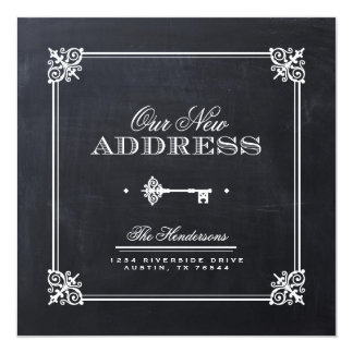 Chalkboard Elegant Key Moving Announcement