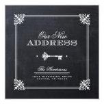 "Chalkboard Elegant Key Moving Announcement 5.25"" Square Invitation Card"