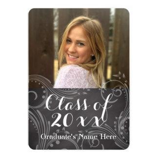Chalkboard Elegant Swirl Photo Graduation Card