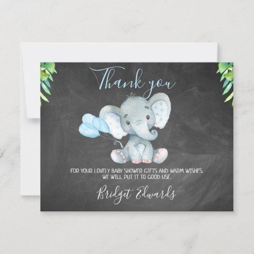 Chalkboard Elephant Baby Shower Thank You Card