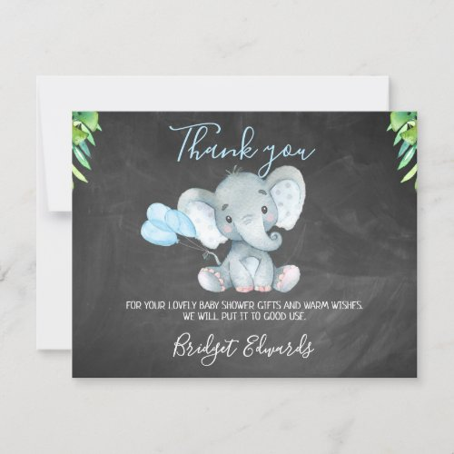 Chalkboard Elephant Baby Shower Thank You Card