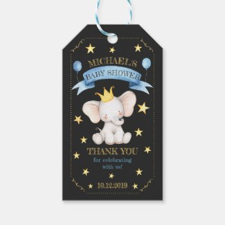 Chalkboard Elephant Thank You Baby Shower Blue Gift Tags