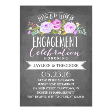 engagements Chalkboard Engagement   Engagement Party Card