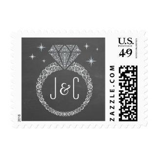Chalkboard Engagement Ring Postage Stamp