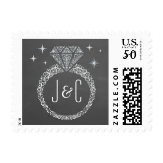 Chalkboard Engagement Ring Postage Stamp