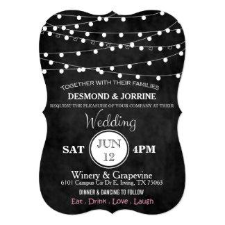 Chalkboard Fairy Lights & Hearts Invite