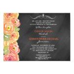 Chalkboard Fall Floral Watercolor Wedding Invite