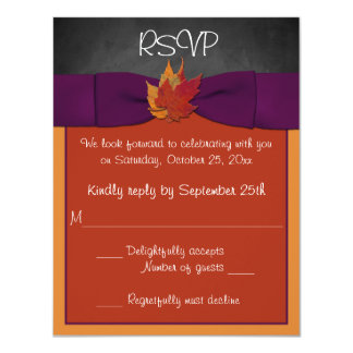 Chalkboard, Fall Leaves Wedding RSVP - Purple Card