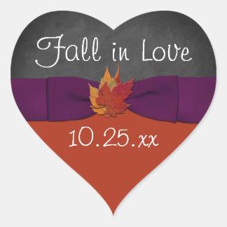 Chalkboard, Fall Leaves Wedding Sticker 3 - Purple