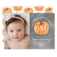 Chalkboard Fall Pumpkin Autumn First Birthday Invitation