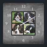 """Chalkboard Family custom photo collage Square Wall Clock<br><div class=""""desc"""">Custom Family photo collage on chalkboard background clock. Add your own personal photos to personalize the clock. Do don&#39;t have to add only square photos other sizes will also fit. If you need help please contact me.</div>"""