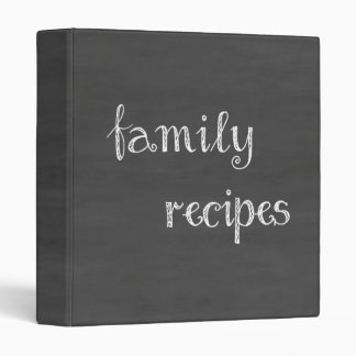 Chalkboard Family Recipes 3 Ring Binder