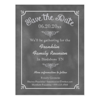 Chalkboard Family Reunion or Party Save the Date Postcard