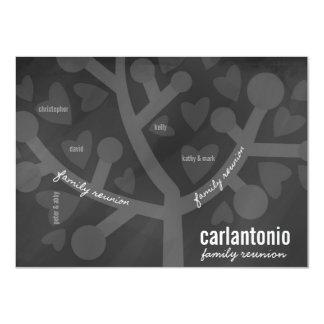 Chalkboard Family Tree & Hearts Family Reunion Card
