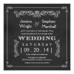 """Chalkboard Fancy Square Wedding Invitations 5.25"""" Square Invitation Card"""