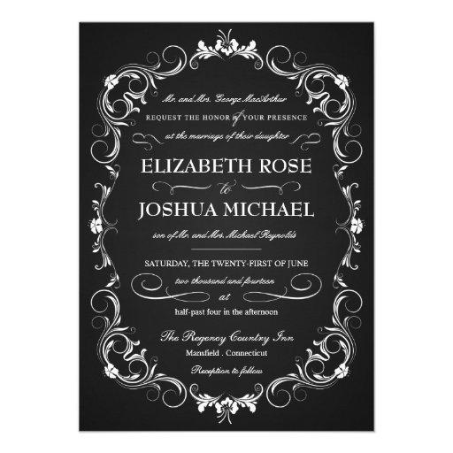 Chalkboard Fancy Typography Wedding Invitations