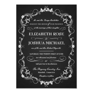"Chalkboard Fancy Typography Wedding Invitations 4.5"" X 6.25"" Invitation Card"