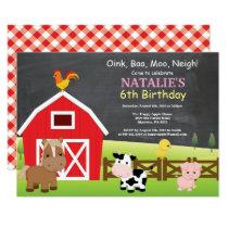 Chalkboard Farm Birthday Invitation Barnyard Party