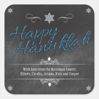 Chalkboard Faux BlueGlitter Hanukkah Square Stickers