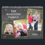 "Chalkboard & Faux Gold Glitter Photo Collage Calendar<br><div class=""desc"">This trendy calendar features a chalkboard style background and faux gold glitter accents on your family photos. Personalize each month with your photo - several photo collage layouts available! Makes a great Christmas present for grandparents,  spouses,  and friends!</div>"