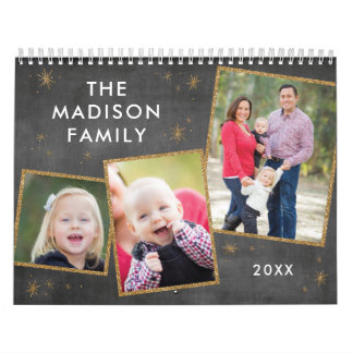 Chalkboard & Faux Gold Glitter Photo Collage Calendar