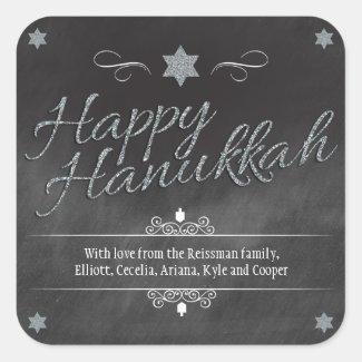 Chalkboard Faux Silver Glitter Hanukkah