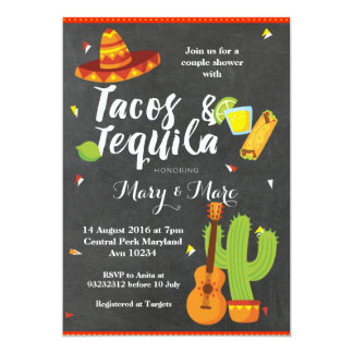 Chalkboard Fiesta Tacos and Tequila Invitation