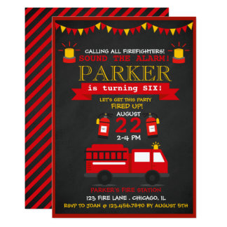 Fireman Birthday Invitations Announcements Zazzle
