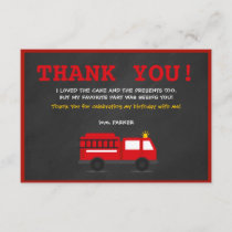 Chalkboard Fire Fighter Birthday Thank You Card