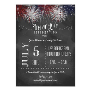 Chalkboard Fireworks 4th of July Party Invitation at Zazzle